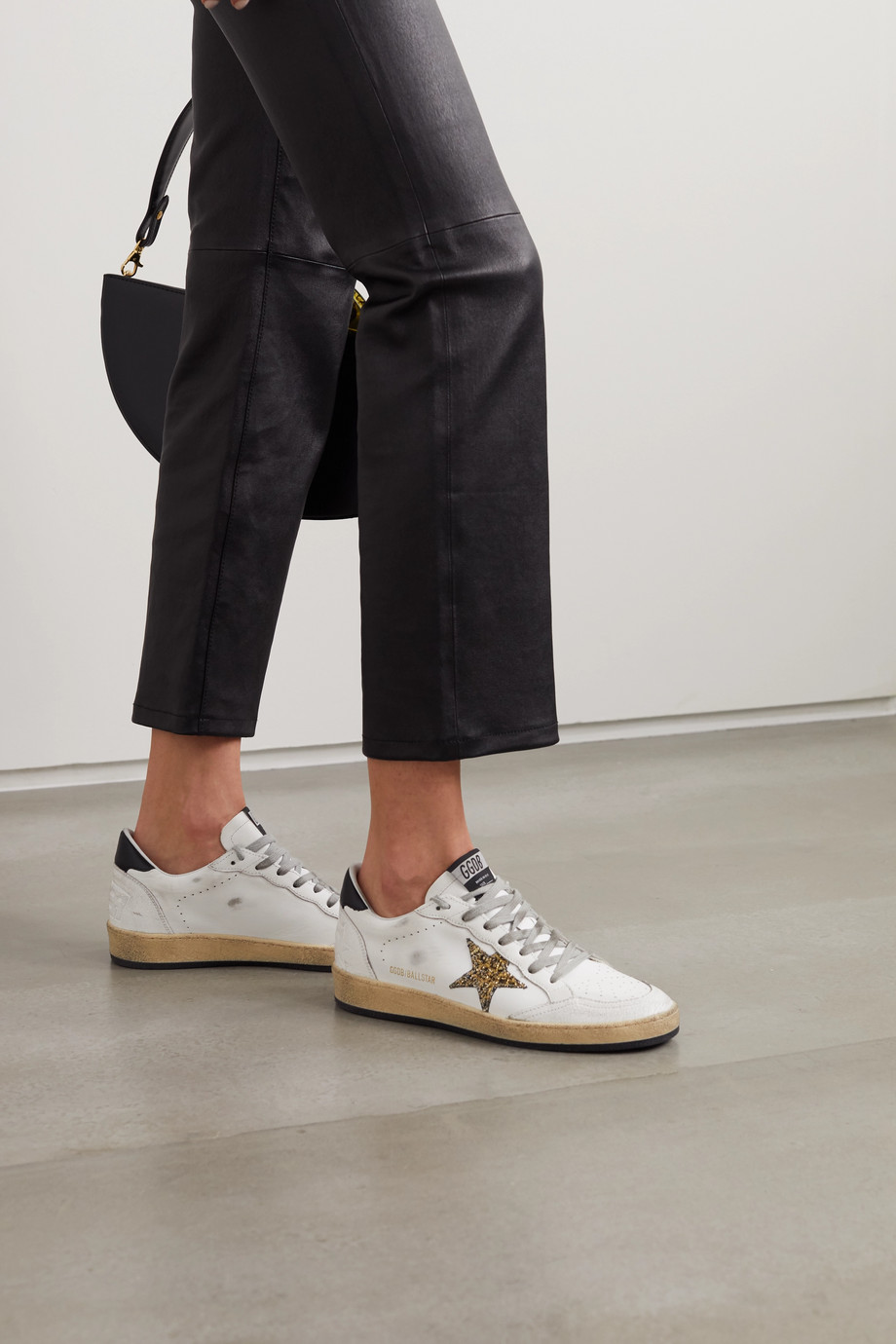 Golden Goose Ball Star glittered distressed leather sneakers