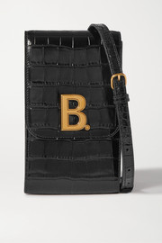 Balenciaga B Dot croc-effect leather shoulder bag