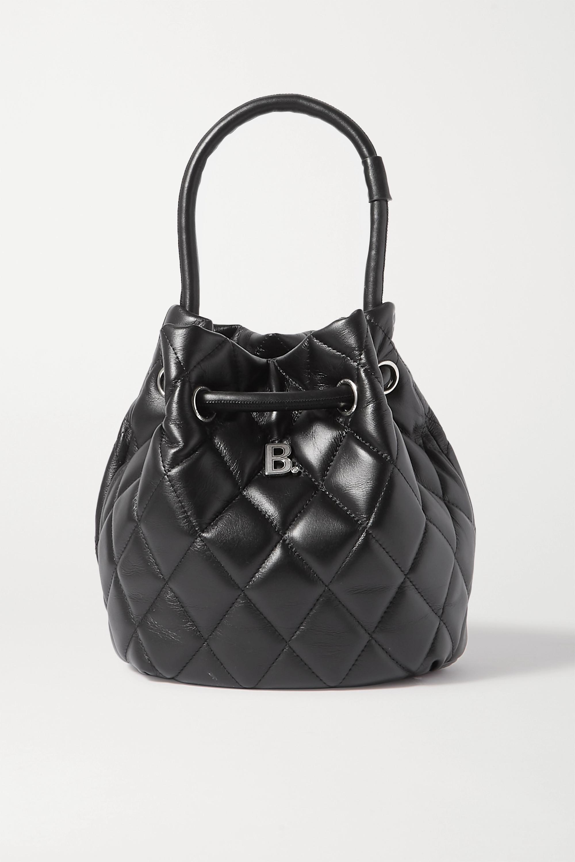 Black B Dot Quilted Leather Bucket Bag Balenciaga Net A Porter