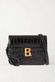 B small croc-effect leather shoulder bag
