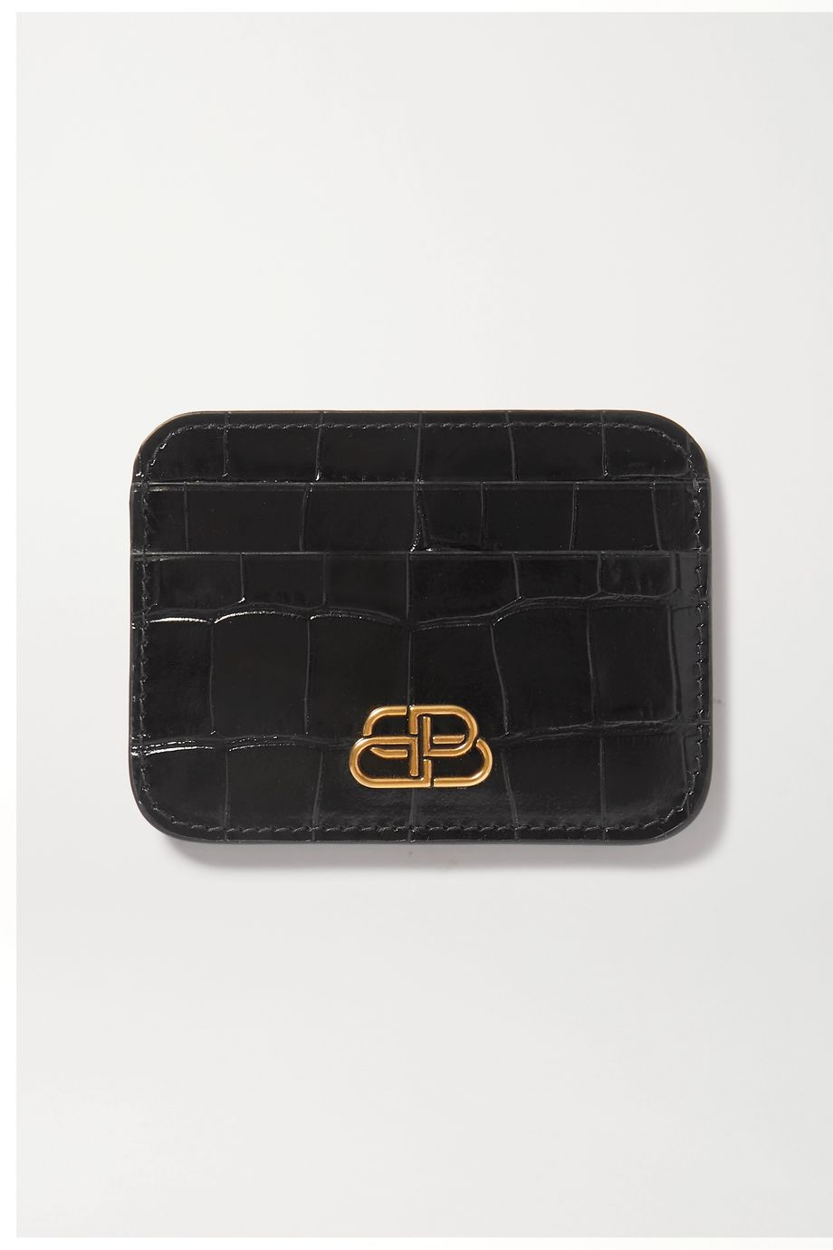 Balenciaga BB croc-effect leather cardholder