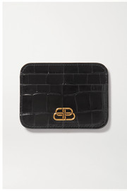 BB croc-effect leather cardholder