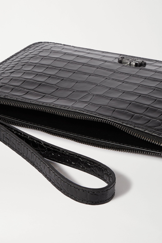 Balenciaga BB croc-effect leather pouch