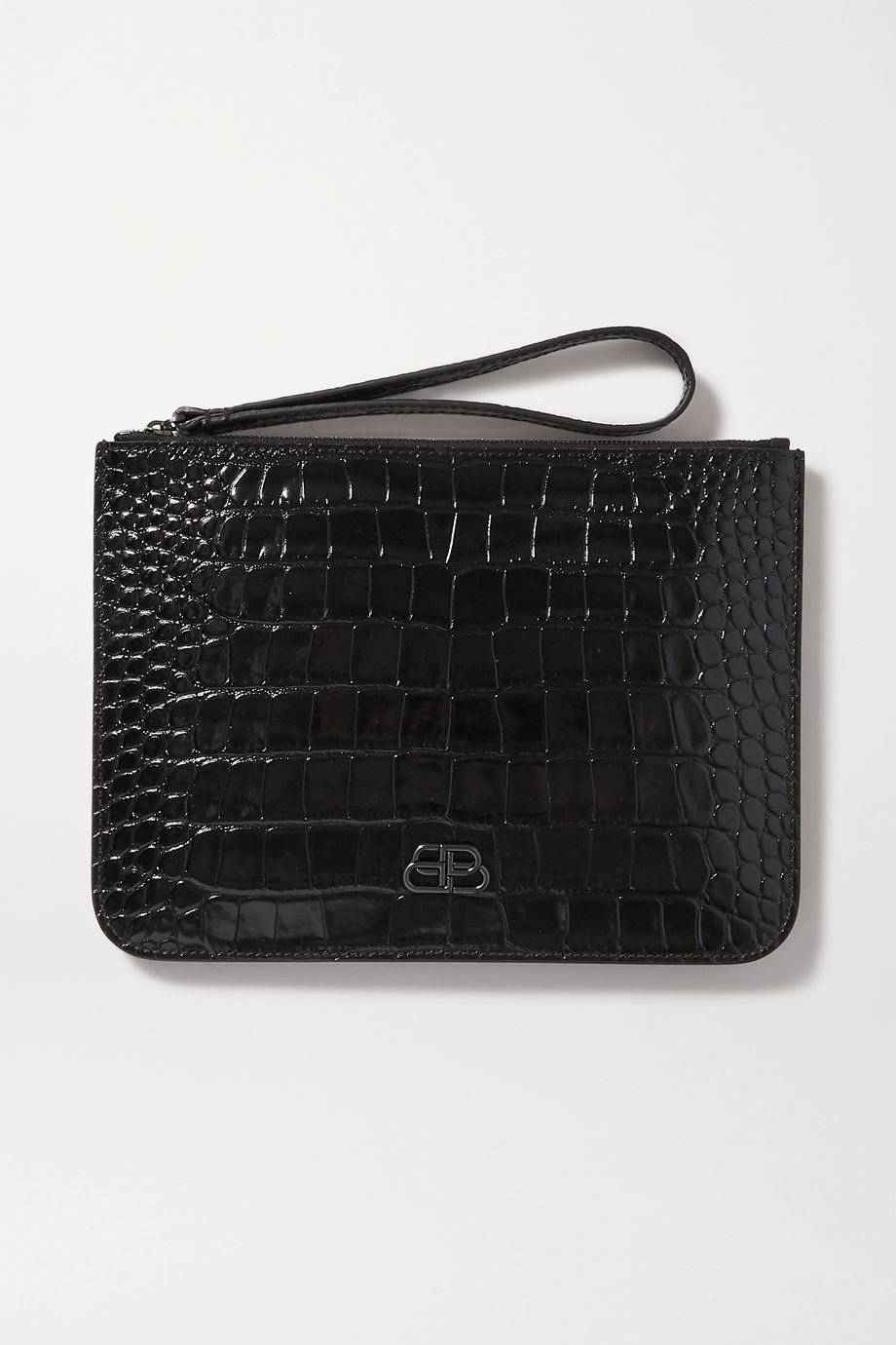 Balenciaga BB croc-effect leather pouch