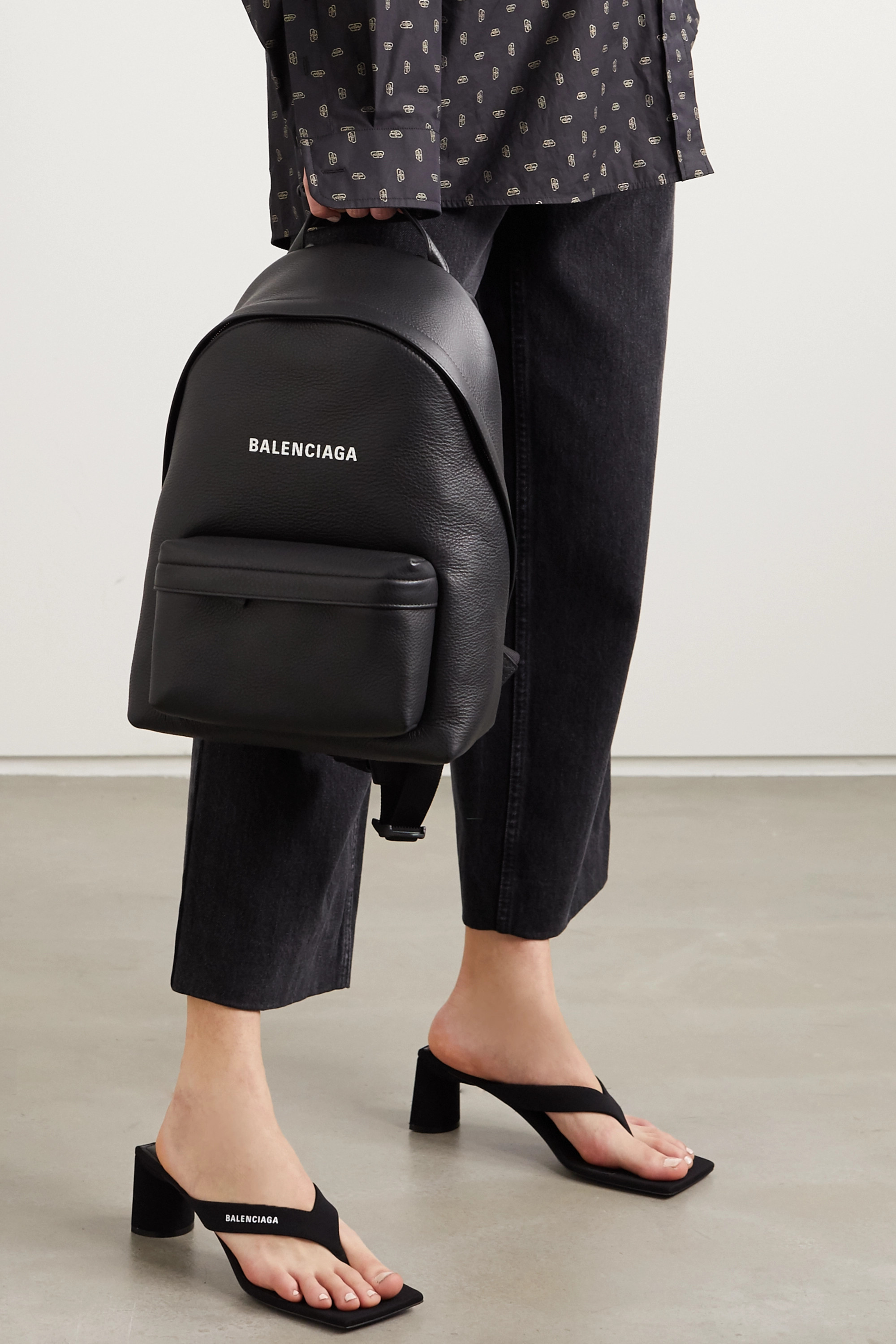 Black Everyday printed textured-leather
