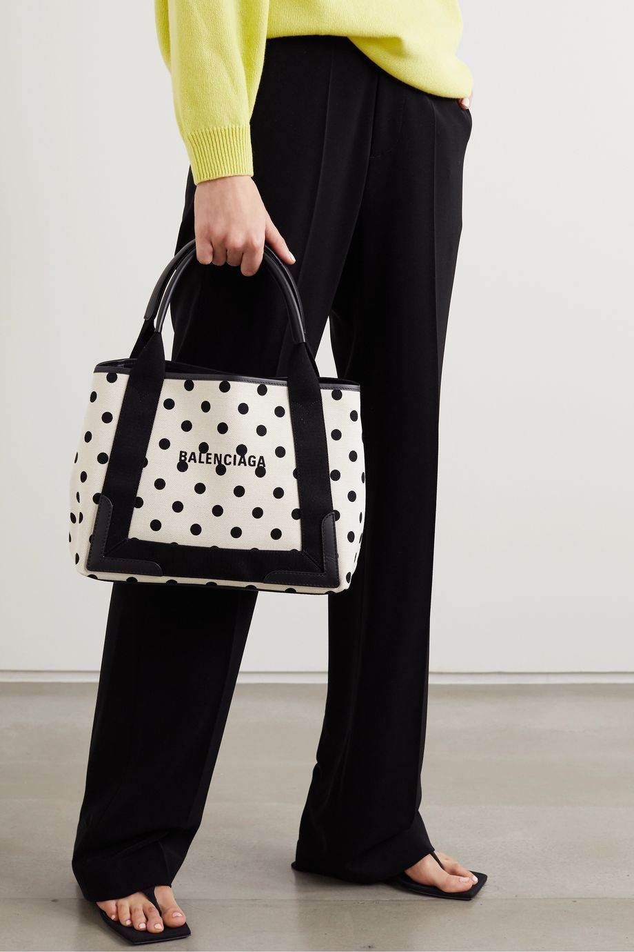 Balenciaga Leather-trimmed polka-dot canvas tote