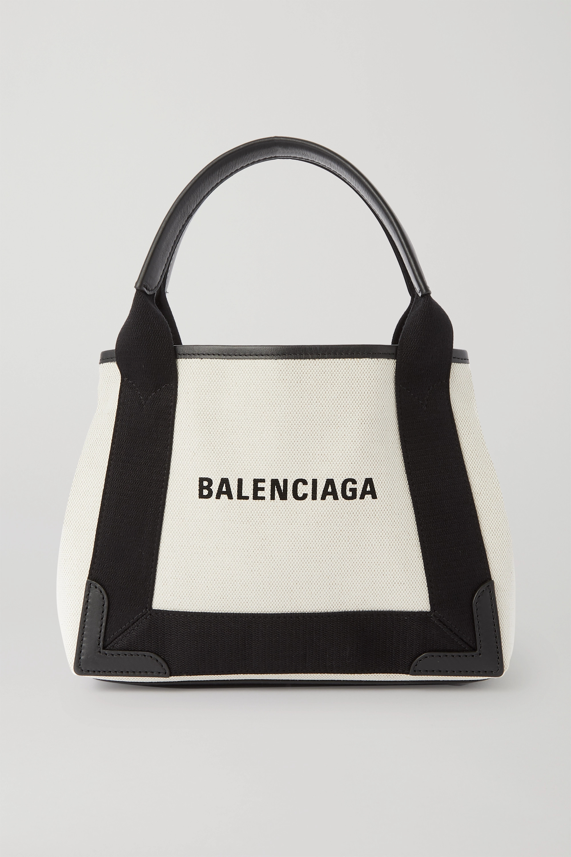 Balenciaga Navy XS Cabas leather-trimmed printed canvas tote