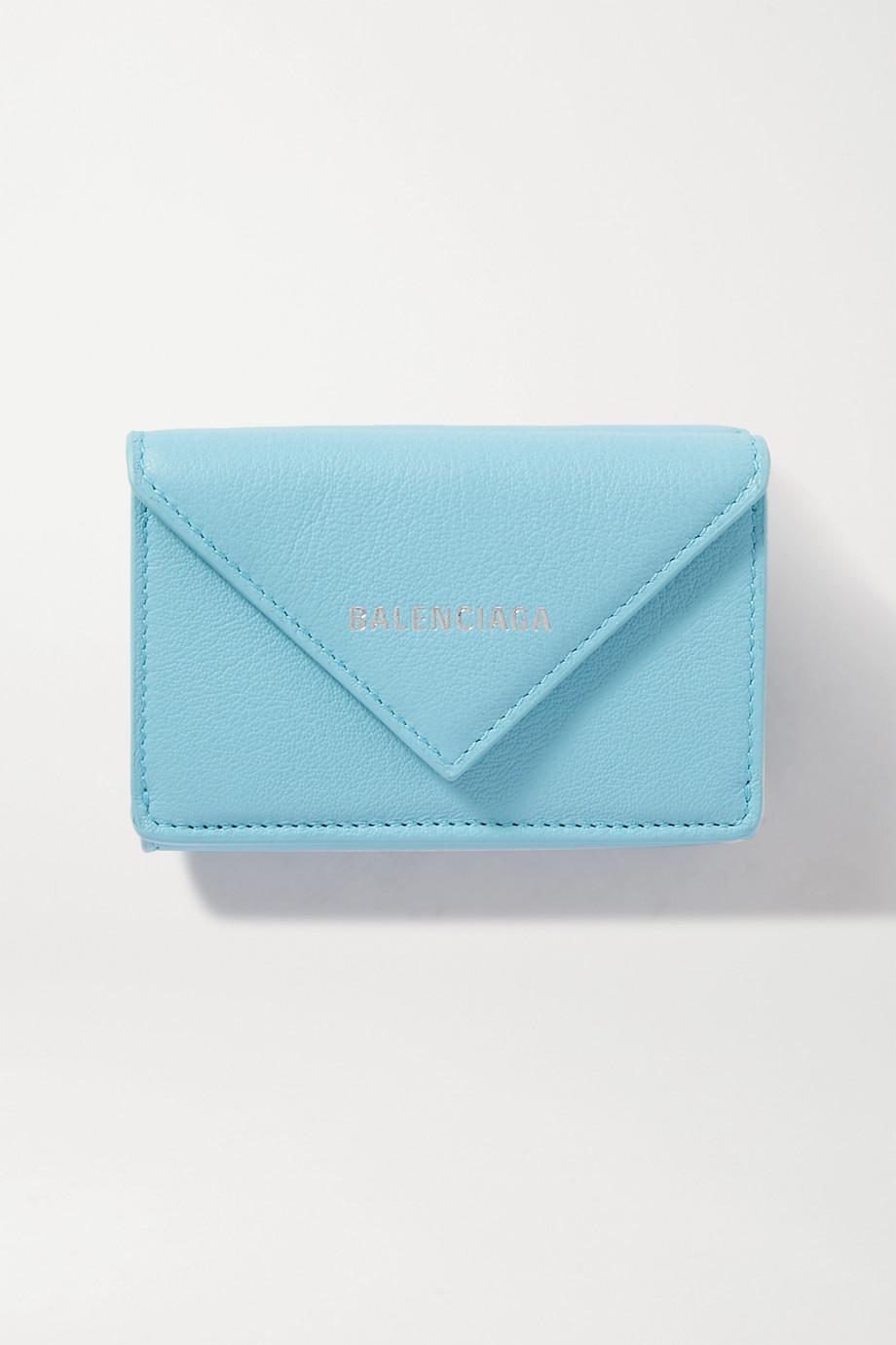 Balenciaga Portefeuille en cuir texturé imprimé Papier Mini
