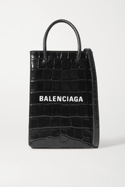 Balenciaga Shopping printed croc-effect leather shoulder bag