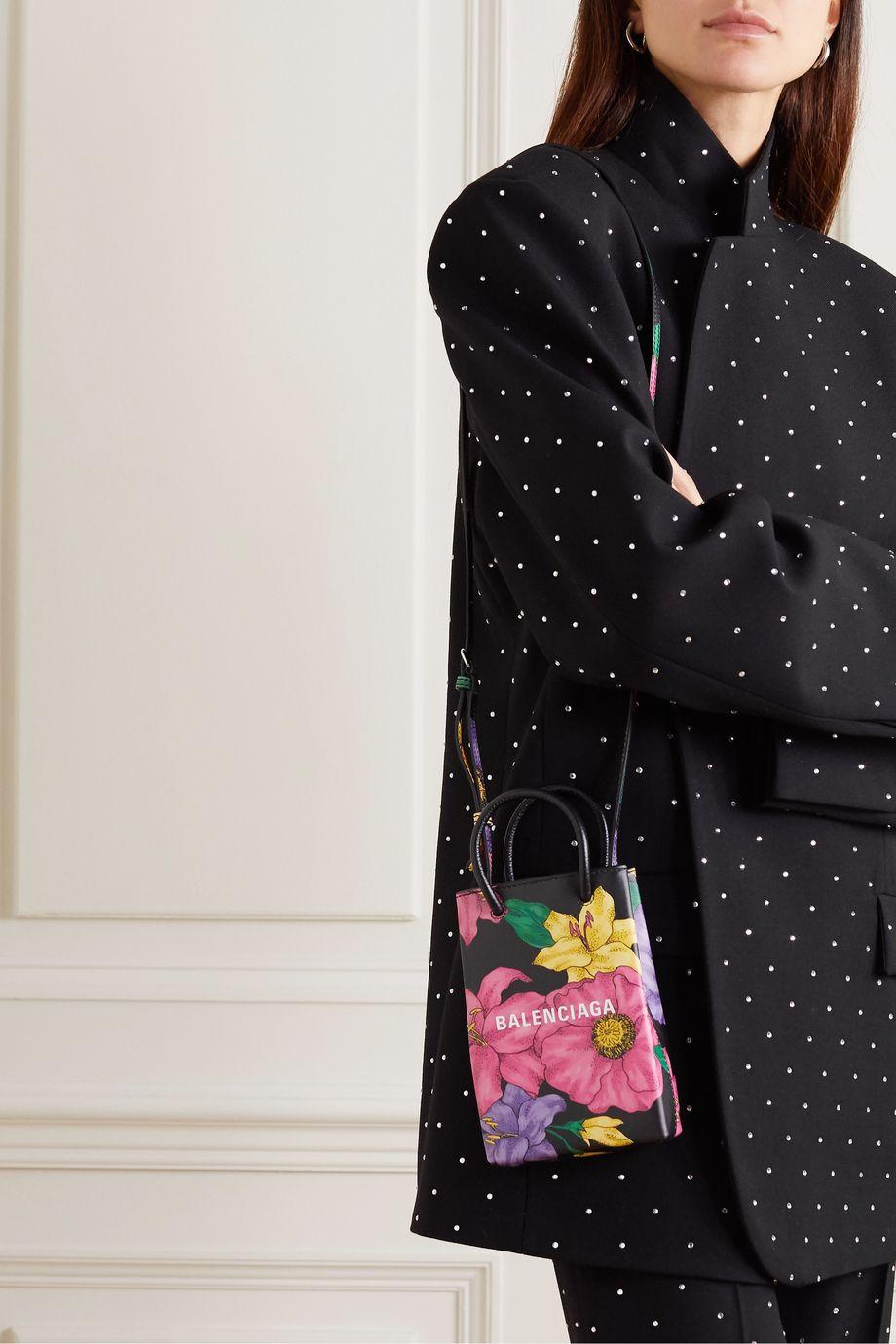 Balenciaga Shopping mini floral-print textured-leather shoulder bag