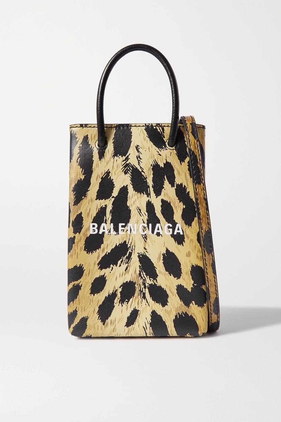 Balenciaga Shopping leopard-print leather shoulder bag