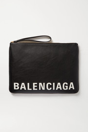 Balenciaga Cash printed textured-leather pouch