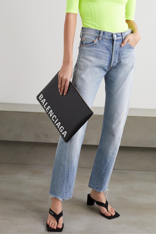 Balenciaga Cash Beutel aus strukturiertem Leder mit Logoprint
