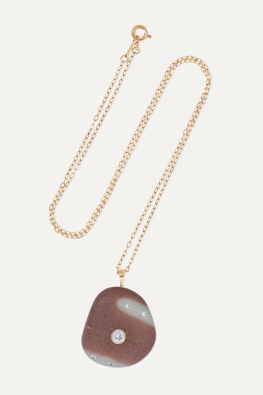 CVC Stones Warmly Kette aus 18 Karat Gold mit Kieselstein und Diamanten