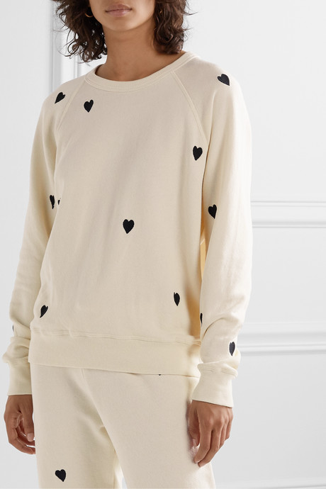 The College embroidered cotton-jersey sweatshirt
