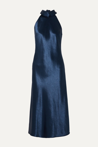 Sienna Halterneck Satin Midi Dress by Galvan