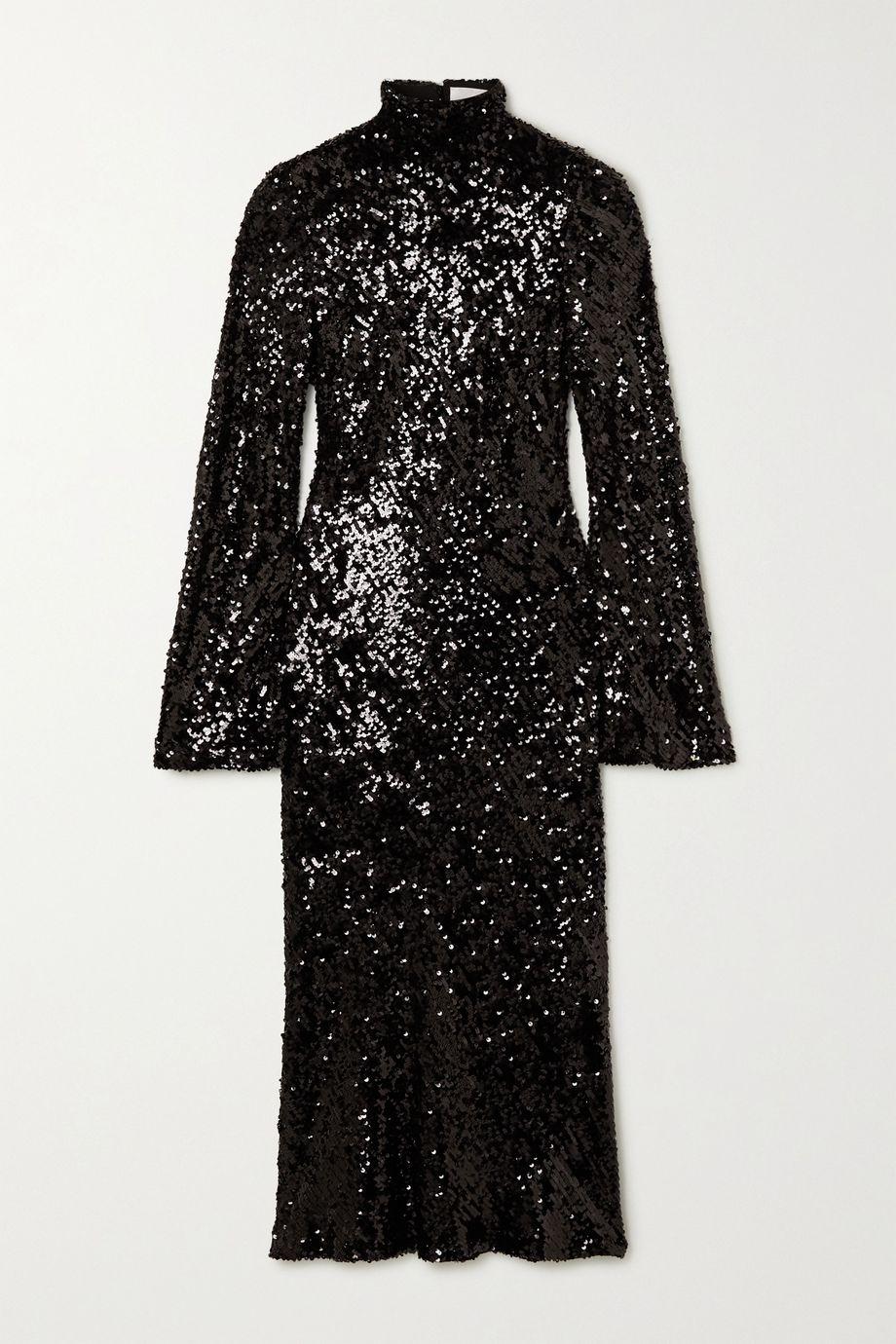 Galvan Legato open-back sequined chiffon midi dress