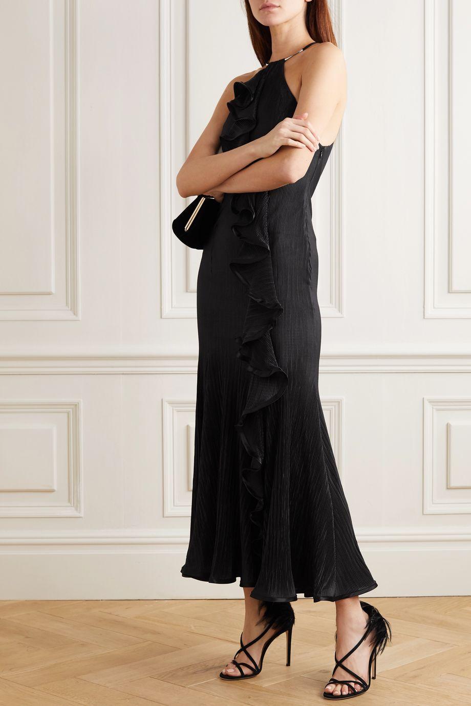Galvan Pirouette ruffled satin-trimmed plissé halterneck midi dress