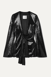 Galvan Ando tie-front sequined satin jacket