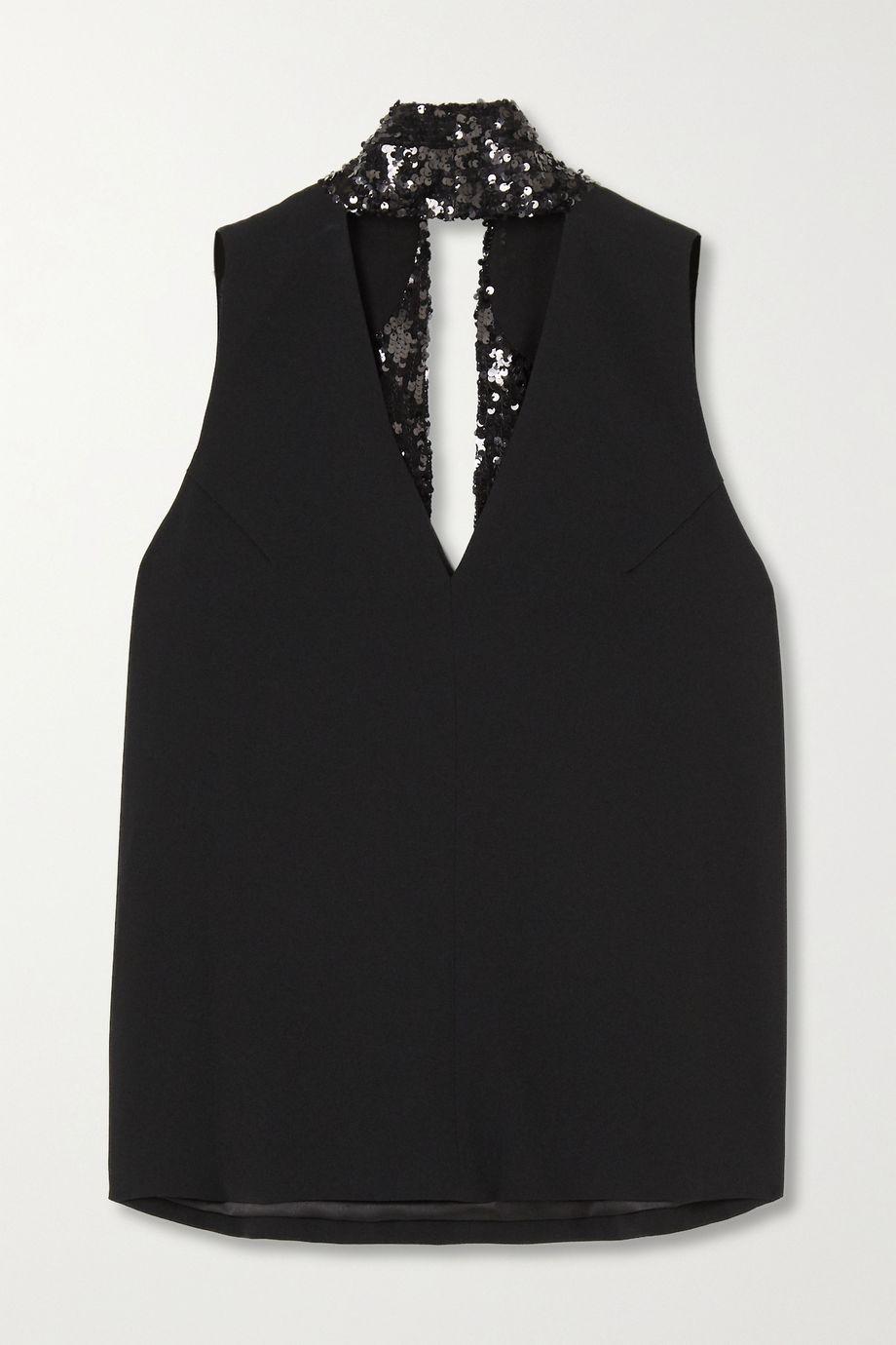 Galvan Tie-detailed sequin-embellished crepe top