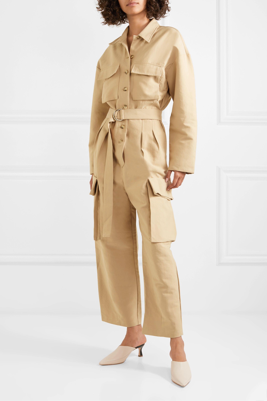 Frankie Shop Linda belted brushed-twill jumpsuit