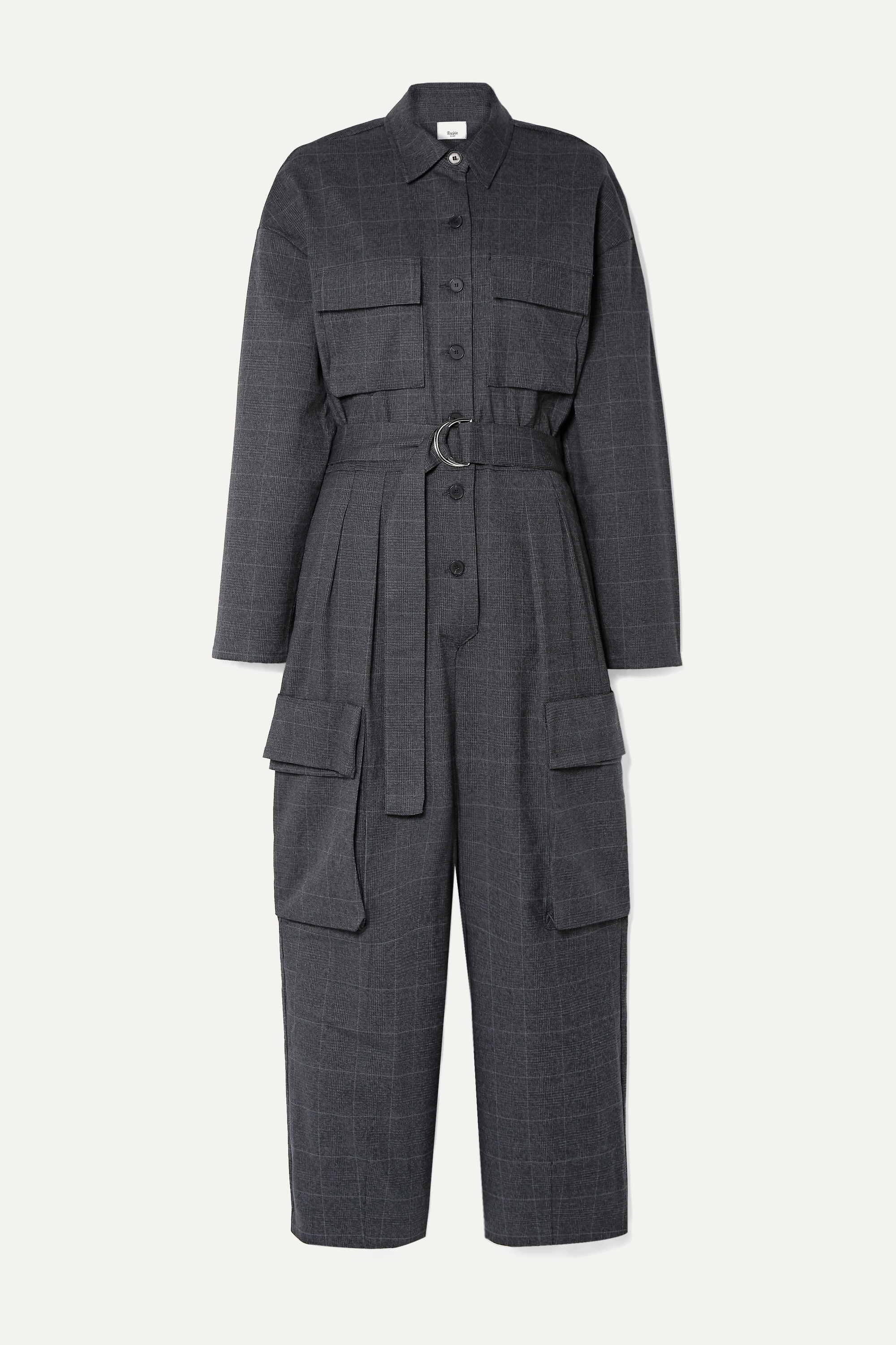 Frankie Shop Linda belted checked woven jumpsuit