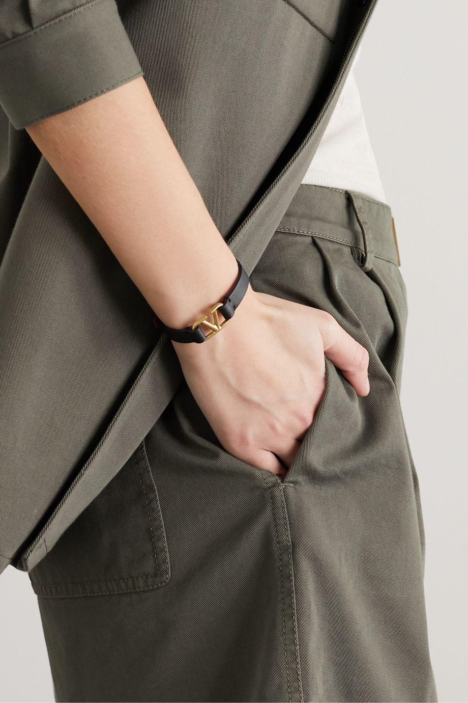 Valentino Valentino Garavani leather and gold-tone bracelet