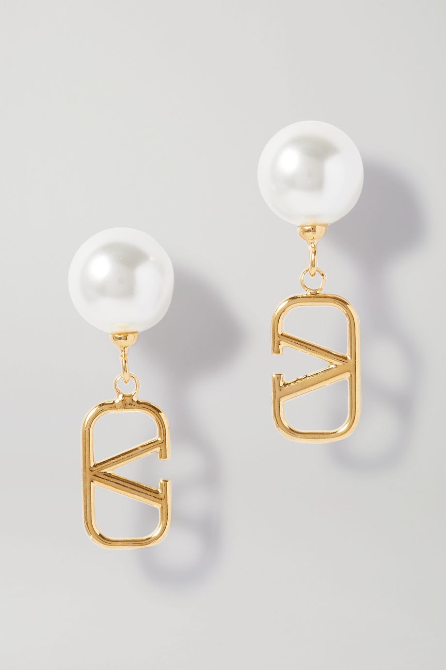 Valentino Gold-tone faux pearl earrings