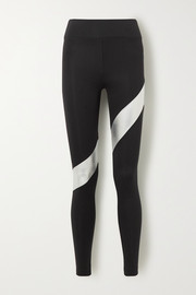 Koral Aello zweifarbige Stretch-Leggings mit Streifen in Metallic-Optik