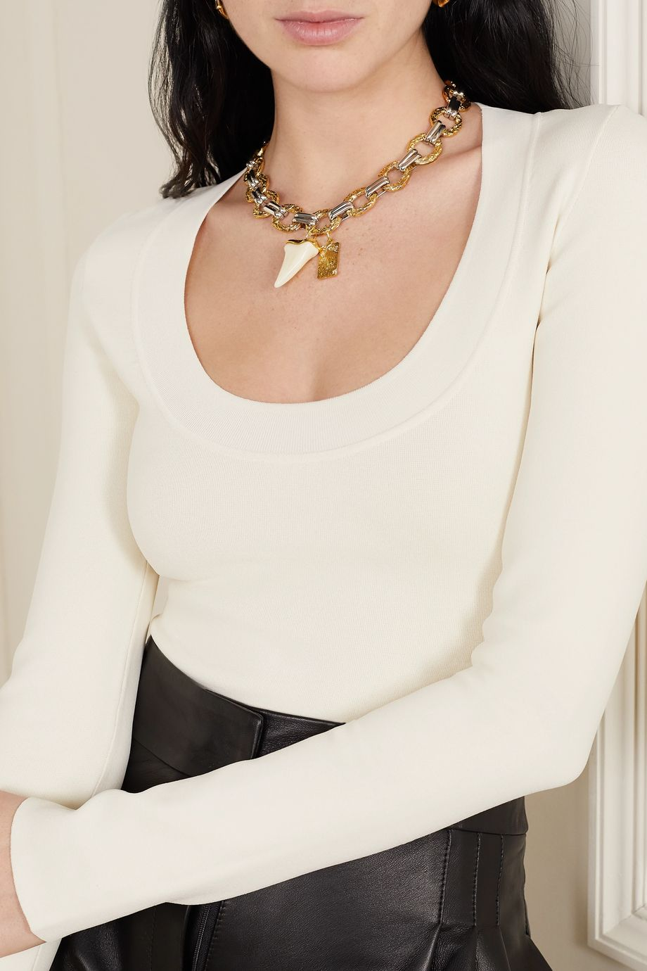Chloé Blake gold and silver-tone and resin necklace