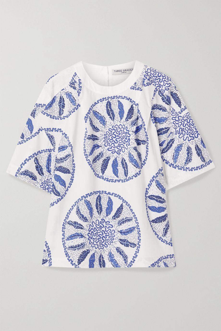 Three Graces London Luna printed cotton-poplin top