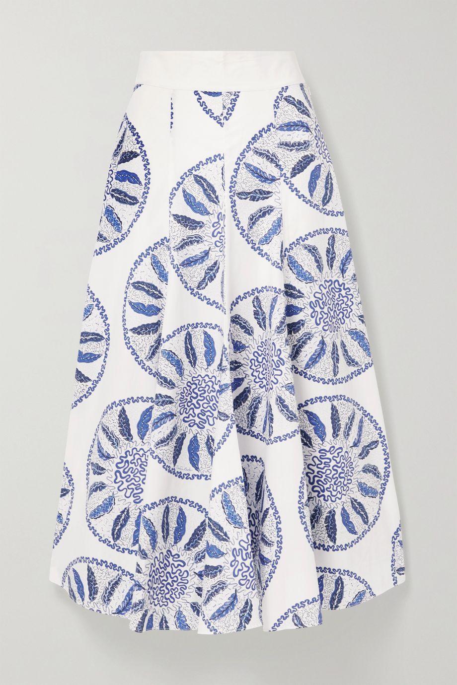 Three Graces London Amelina printed cotton-poplin midi skirt