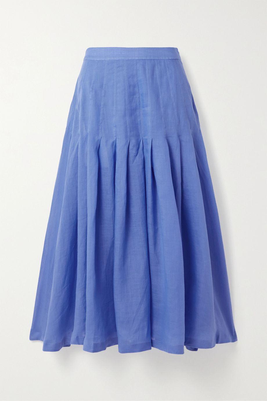 Three Graces London Elisha pleated ramie midi skirt