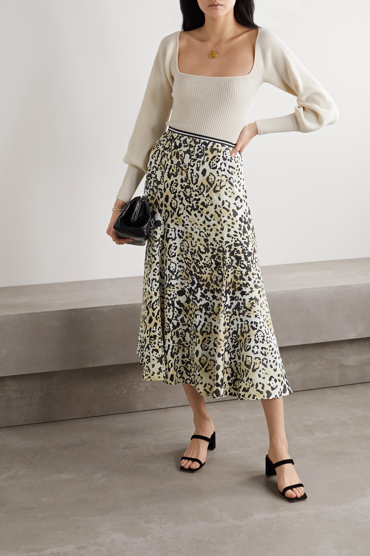 La Ligne Verushka leopard-print silk crepe de chine midi skirt