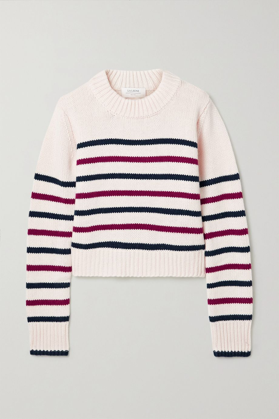 La Ligne Mini Marin 条纹羊毛羊绒混纺毛衣
