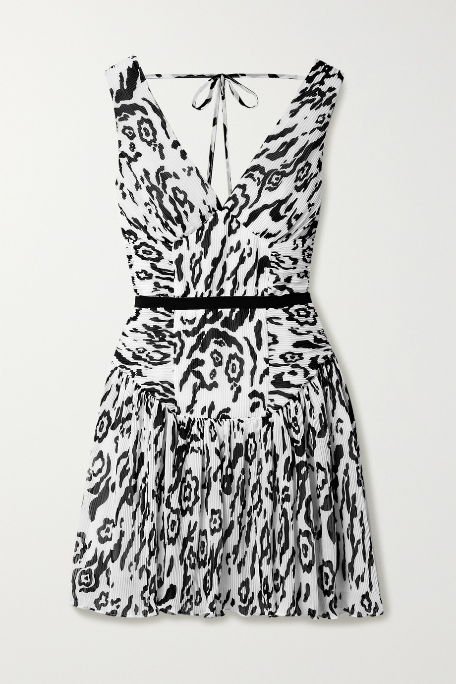 Self-Portrait Leopard-print plissé-chiffon mini dress