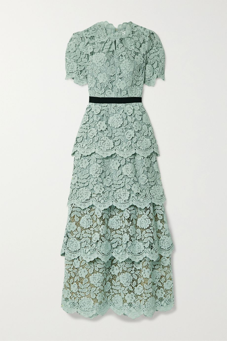 Self-Portrait Grosgrain-trimmed tiered corded lace maxi dress
