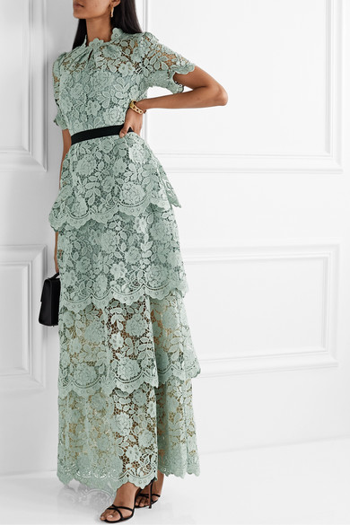 Grosgrain Trimmed Tiered Corded Lace Maxi Dress by Self Portrait