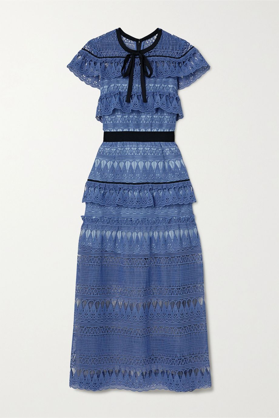 Self-Portrait Daphne grosgrain-trimmed ruffled guipure lace midi dress