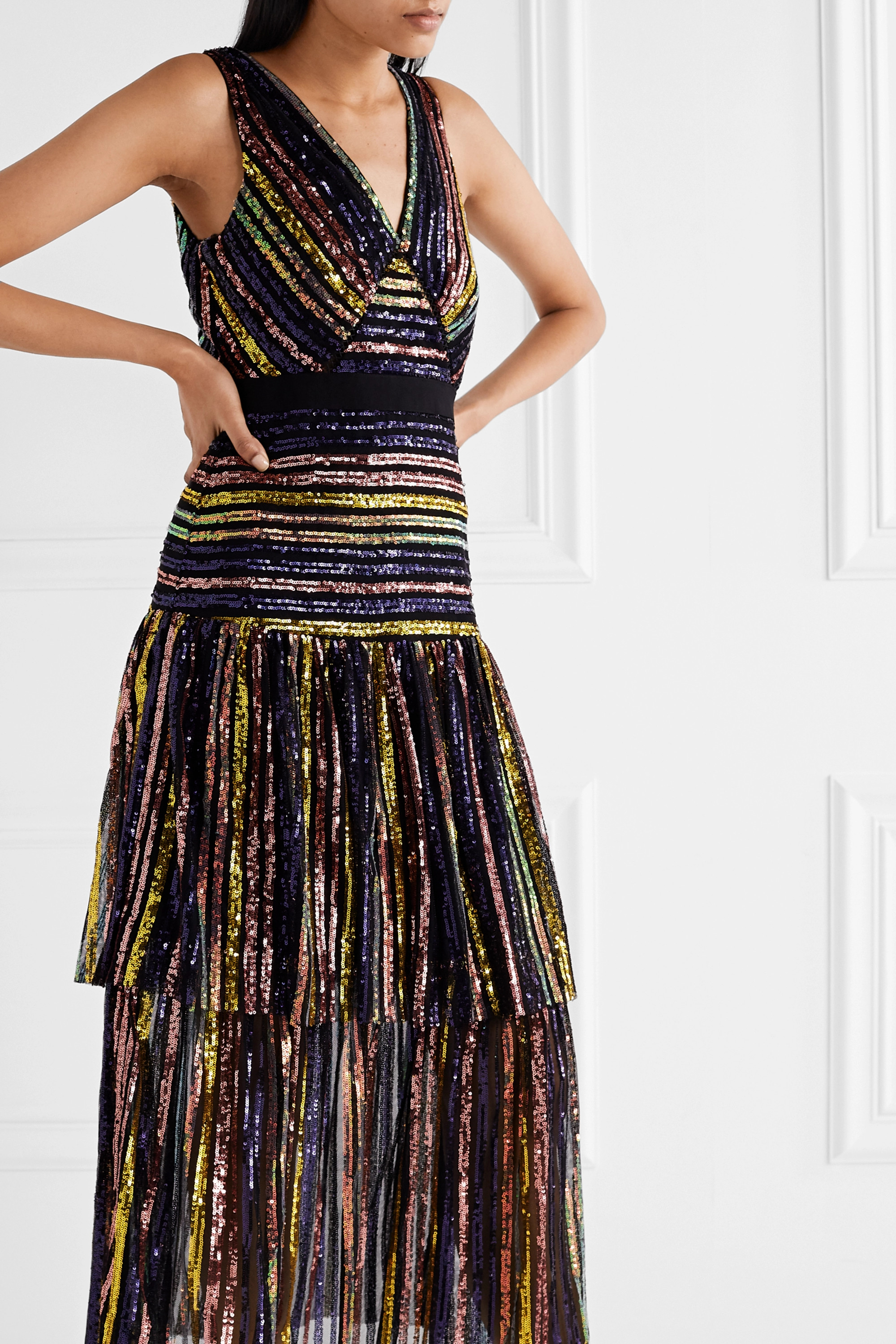 Self-Portrait Grosgrain-trimmed tiered striped sequined tulle midi dress