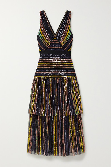 Grosgrain Trimmed Tiered Striped Sequined Tulle Midi Dress by Self Portrait