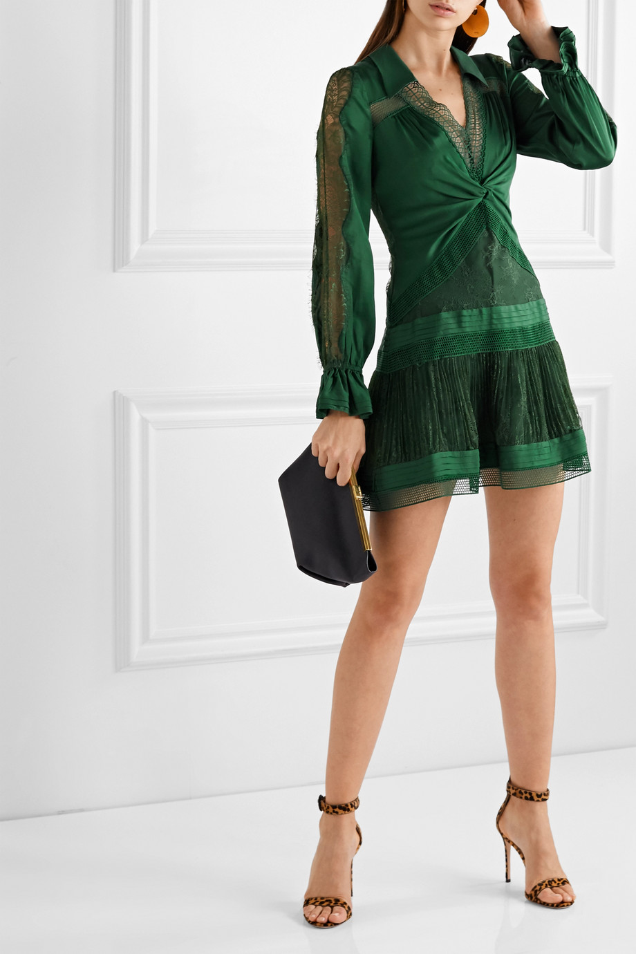 Self-Portrait Twist-front paneled satin-twill, lace and mesh mini dress