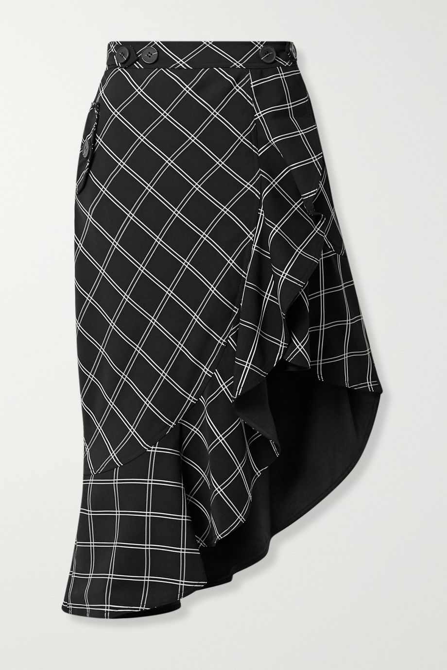 Self-Portrait Asymmetric ruffled checked jacquard skirt