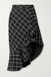 Self-Portrait Asymmetric ruffled checked jacquard skirt