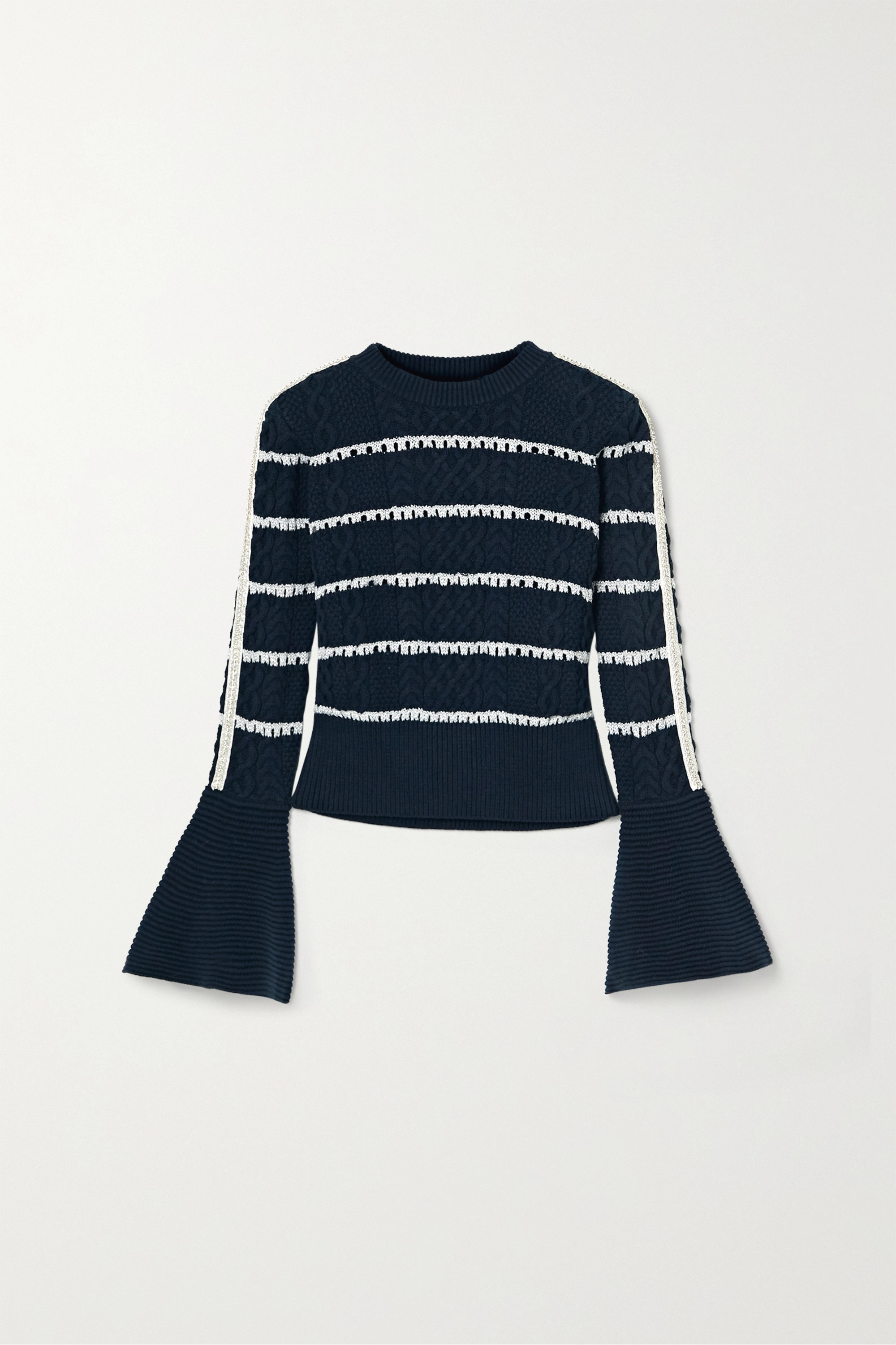 Self-Portrait Embellished striped cable-knit cotton-blend sweater