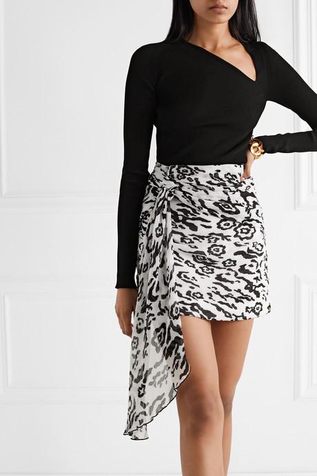 Draped leopard-print plissé-chiffon mini skirt