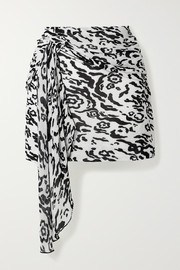 Self-Portrait Draped leopard-print plissé-chiffon mini skirt