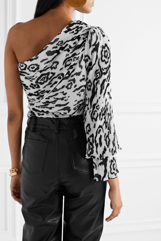Self-Portrait One-sleeve tie-detailed leopard-print plissé-chiffon top