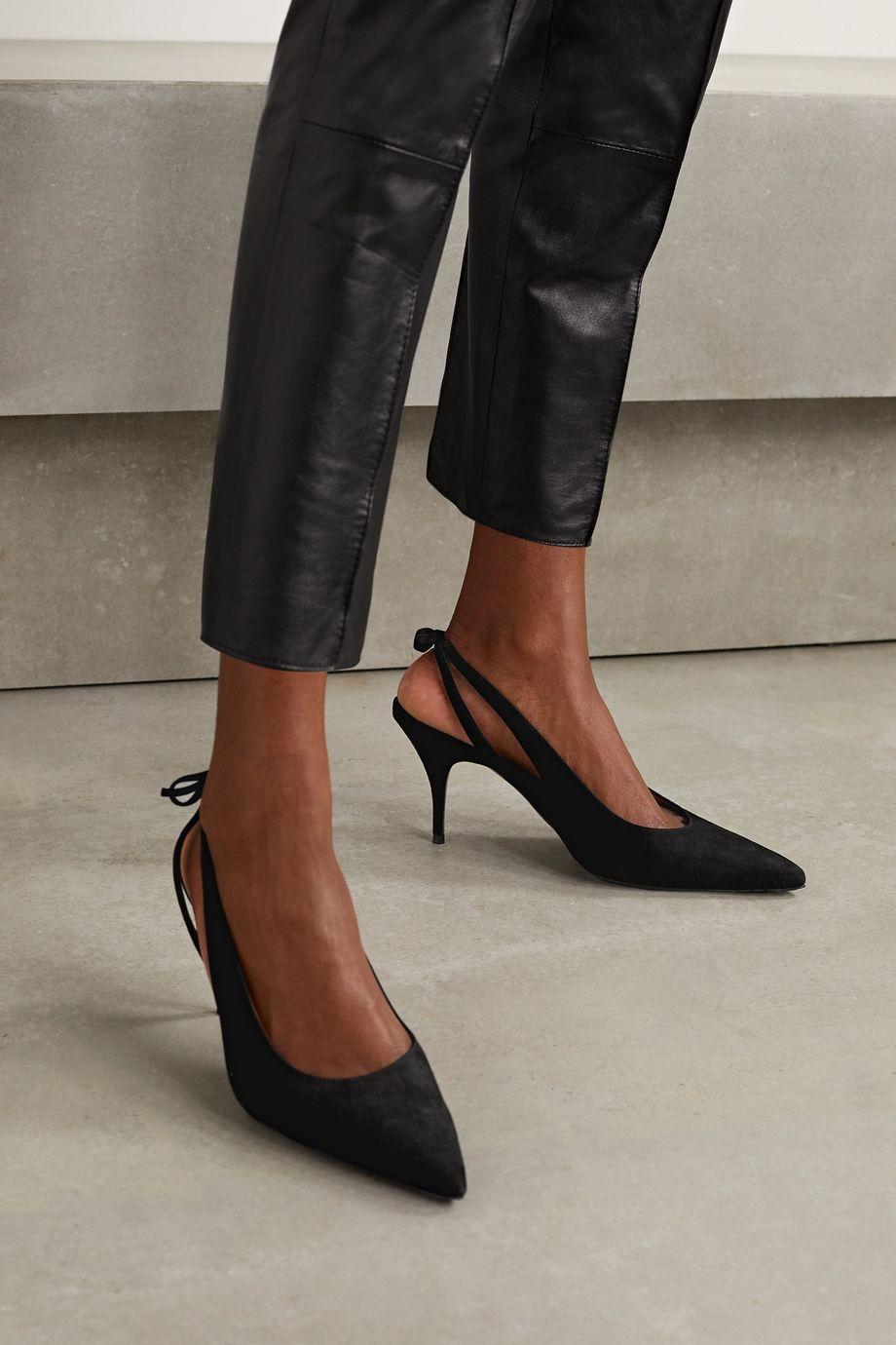 Tabitha Simmons Erika bow-embellished suede slingback pumps