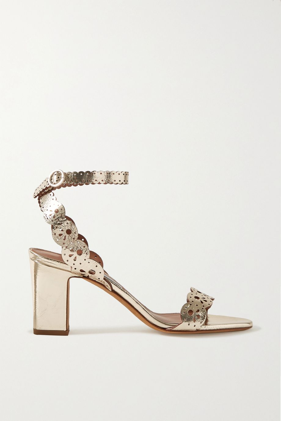 Tabitha Simmons Bobbin laser-cut metallic leather sandals